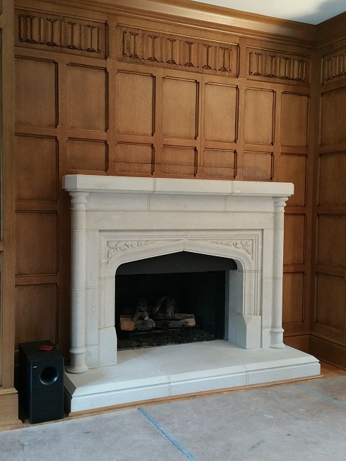 Tudor Library Quartersawn Oak Paneling Detail with Tudor Fireplace and Hidden TV Cabinet
