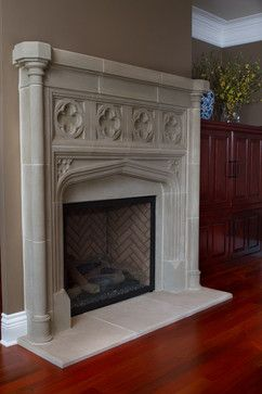 Tudor Limestone Fireplace with Columns and Quatrefoil Panels