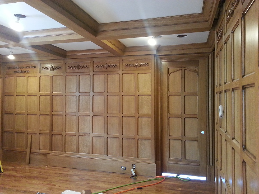 Tudor Study Quartersawn Oak Paneling Detail with paneled doors