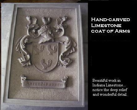 Coat of arms - hand-carved in limestone