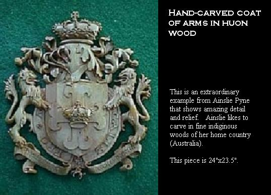 Coat of arms - hand-carved in Huon wood